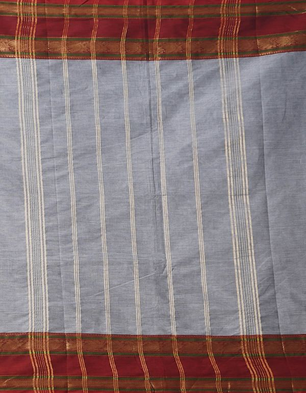 Online Shopping for Grey Pure Handcrafted Pavni Cotton Saree with Weaving from Tamilnadu at Unnatisilks.comIndia