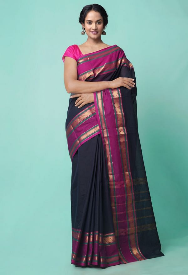 Online Shopping for Black Pure Handcrafted Pavni Cotton Saree with Weaving from Tamilnadu at Unnatisilks.comIndia