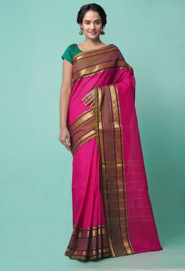 Online Shopping for Pink Pure Handcrafted Pavni Cotton Saree with Weaving from Tamilnadu at Unnatisilks.comIndia