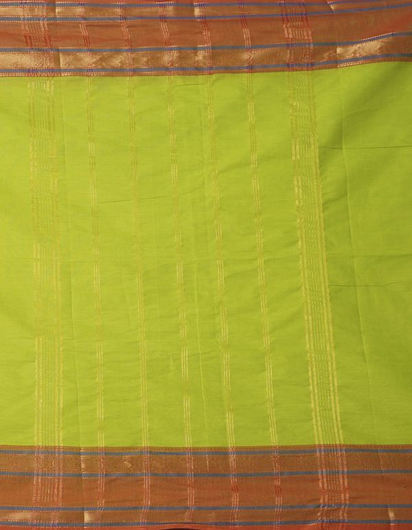 Online Shopping for Green Pure Handcrafted Pavni Cotton Saree with Weaving from Tamilnadu at Unnatisilks.comIndia