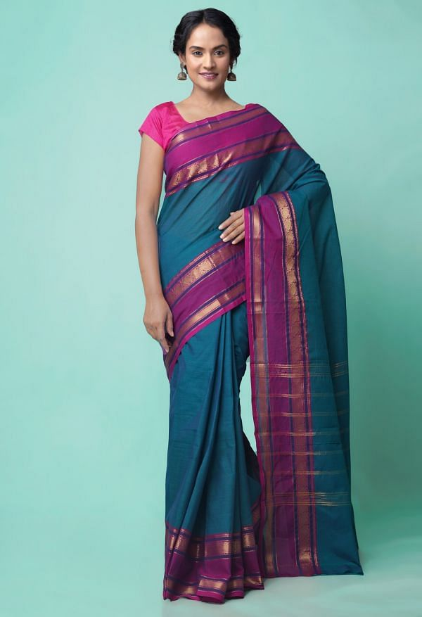 Online Shopping for Blue Pure Handcrafted Pavni Cotton Saree with Weaving from Tamilnadu at Unnatisilks.comIndia