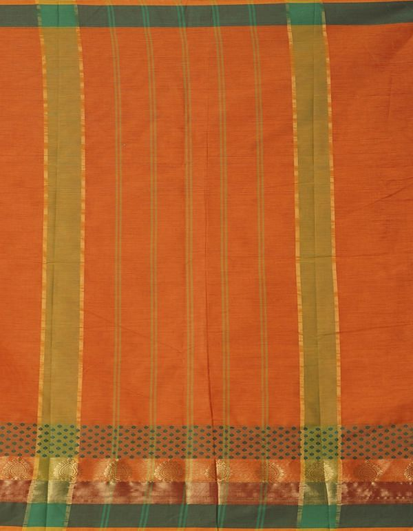 Online Shopping for Orange Pure Handcrafted Pavni Cotton Saree with Weaving from Tamilnadu at Unnatisilks.comIndia