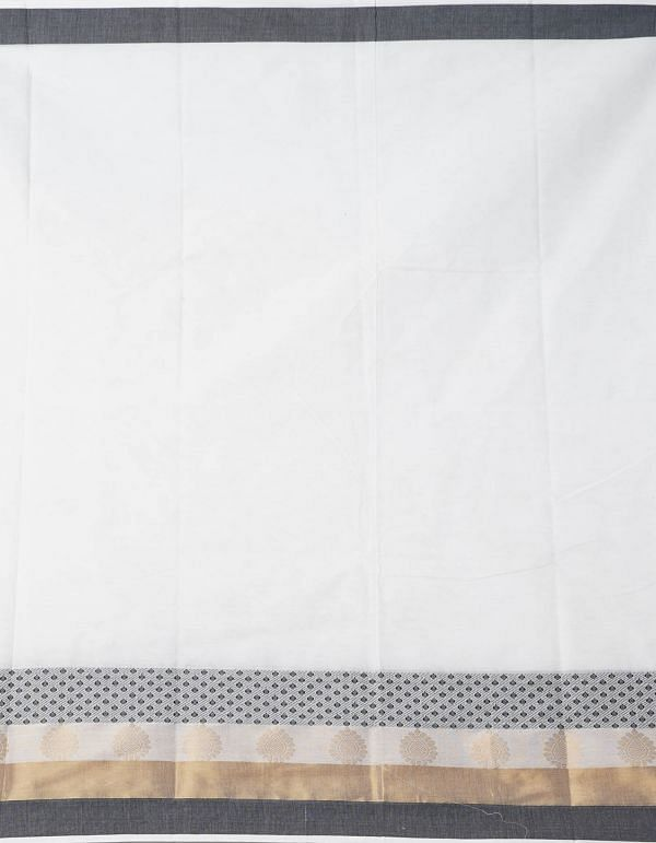 Online Shopping for White Pure Handcrafted Pavni Cotton Saree with Weaving from Tamilnadu at Unnatisilks.comIndia