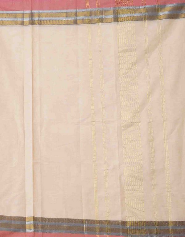 Online Shopping for Cream Pure Handcrafted Pavni Cotton Saree with Weaving from Tamil Nadu at Unnatisilks.comIndia