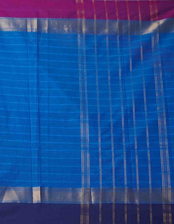 Online Shopping for Blue Pure Handcrafted Pavni Cotton Saree with Weaving from Tamil Nadu at Unnatisilks.comIndia