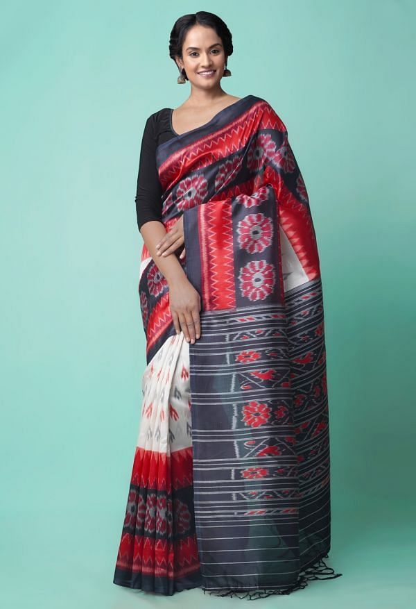 Online Shopping for White-Black  Fancy Printed Art Silk Saree with Fancy/Ethnic Prints from Punjab at Unnatisilks.comIndia