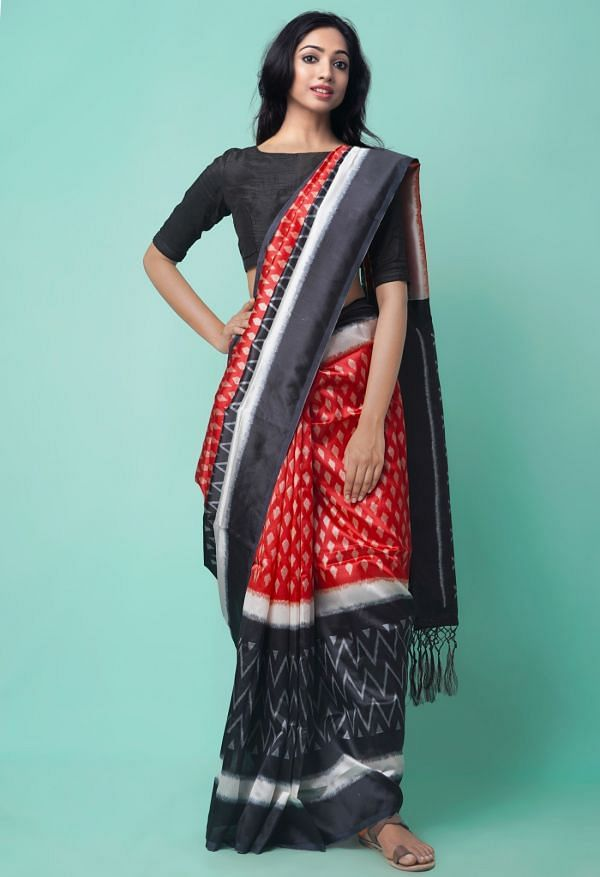 Online Shopping for Red-Black  Fancy Printed Art Silk Saree with Fancy/Ethnic Prints from Punjab at Unnatisilks.comIndia