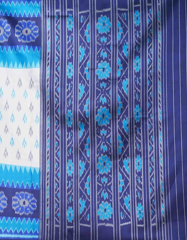 Online Shopping for White-Blue  Fancy Printed Art Silk Saree with Fancy/Ethnic Prints from Punjab at Unnatisilks.comIndia