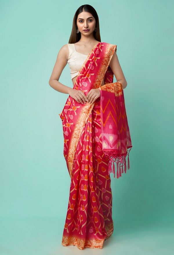 Online Shopping for Pink  Fancy Printed Art Silk Saree with Fancy/Ethnic Prints from Punjab at Unnatisilks.comIndia