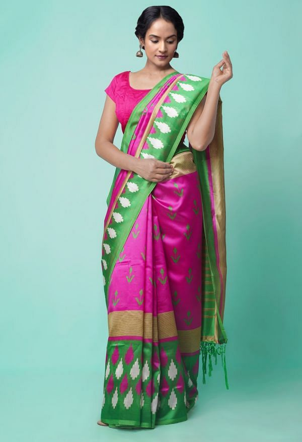 Online Shopping for Pink-Green  Fancy Printed Art Silk Saree with Fancy/Ethnic Prints from Punjab at Unnatisilks.comIndia