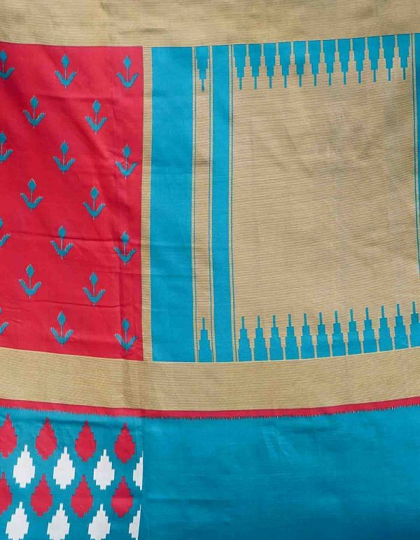 Online Shopping for Red  Fancy Printed Art Silk Saree with Patola from Punjab at Unnatisilks.comIndia