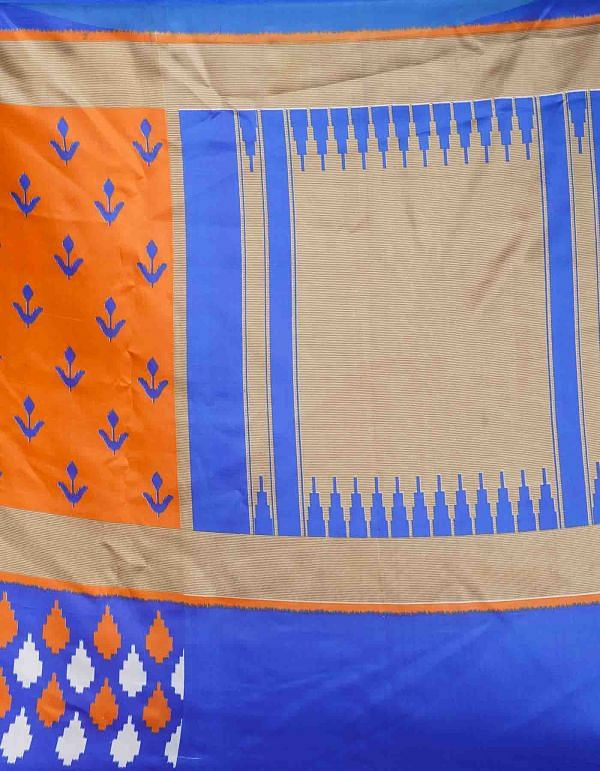 Online Shopping for Orange-Blue  Fancy Printed Art Silk Saree with Patola from Punjab at Unnatisilks.comIndia
