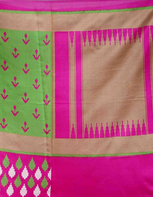 Green-Pink  Fancy Printed Art Silk Saree