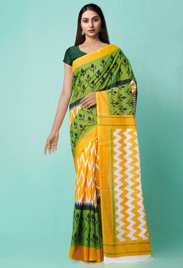 Online Shopping for Yellow-Green Pure Ikat Pochampally Cotton Saree with Weaving from Madhya Pradesh at Unnatisilks.comIndia