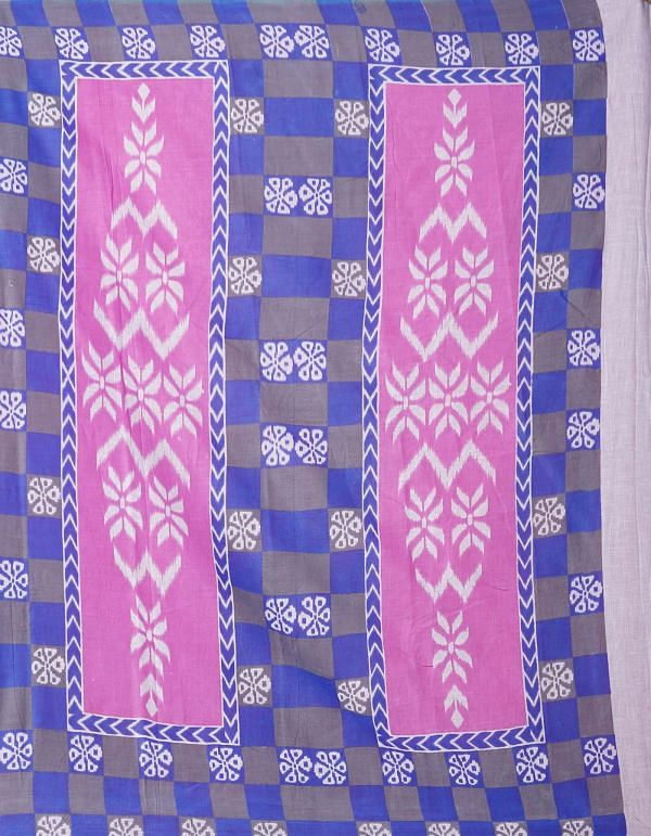 Online Shopping for Pink-Grey Pure Ikat Pochampally Cotton Saree with Weaving from Madhya Pradesh at Unnatisilks.comIndia