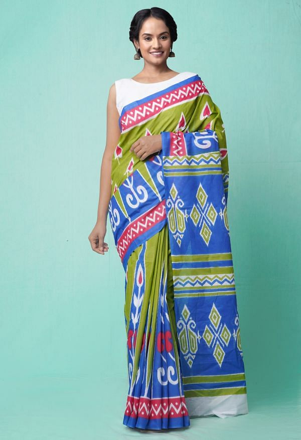 Online Shopping for Green-Blue Pure Ikat Pochampally Cotton Saree with Weaving from Madhya Pradesh at Unnatisilks.comIndia