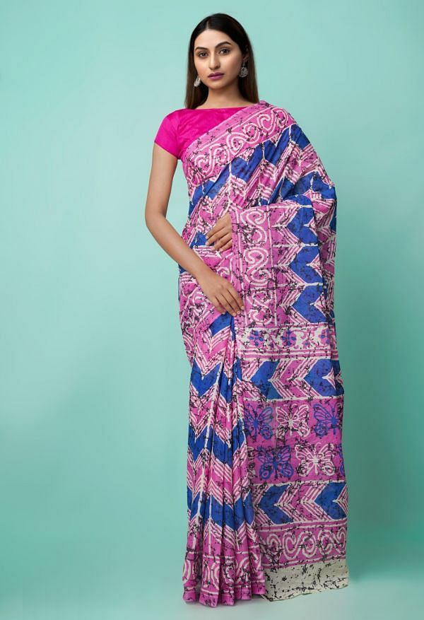 Online Shopping for Pink-Blue Pure Ikat Pochampally Cotton Saree with Weaving from Madhya Pradesh at Unnatisilks.comIndia