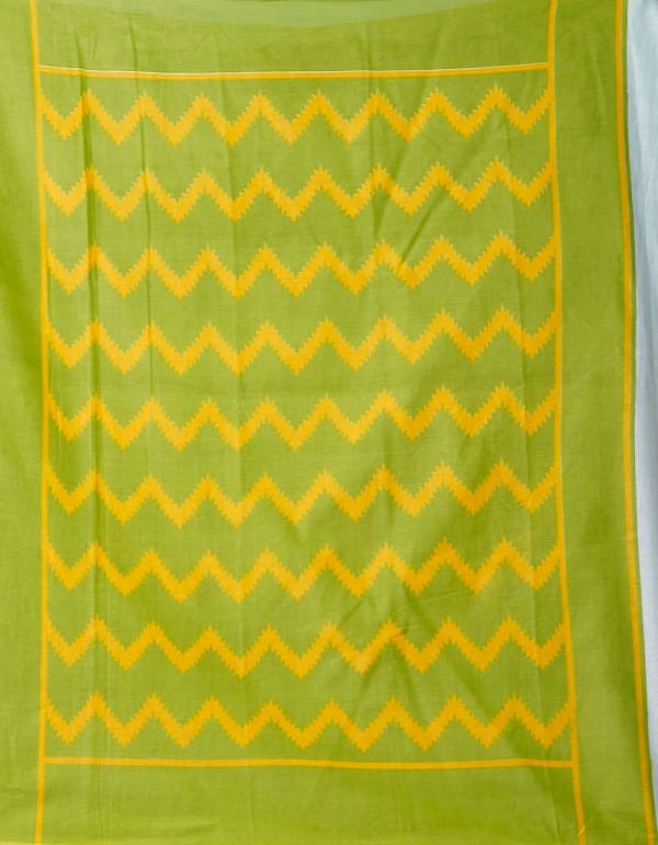 Online Shopping for Green Pure Ikat Pochampally Cotton Saree with Weaving from Madhya Pradesh at Unnatisilks.comIndia