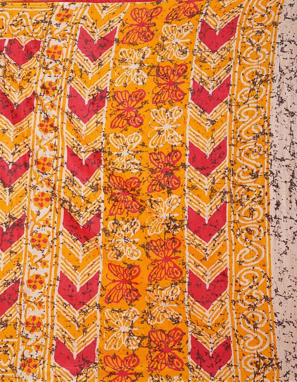 Online Shopping for Yellow Pure Ikat Pochampally Cotton Saree with Weaving from Madhya Pradesh at Unnatisilks.comIndia