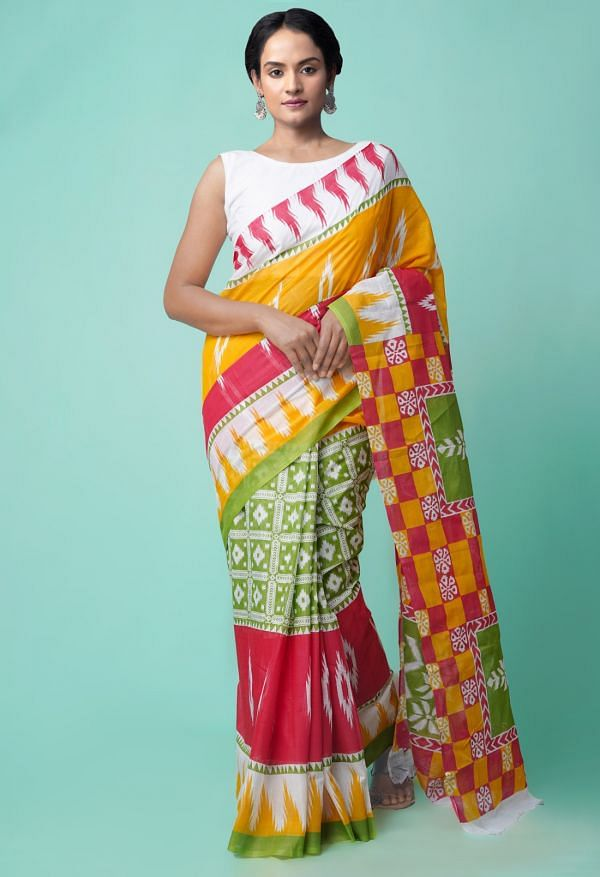 Online Shopping for Multi Pure Ikat Pochampally Cotton Saree with Weaving from Madhya Pradesh at Unnatisilks.comIndia
