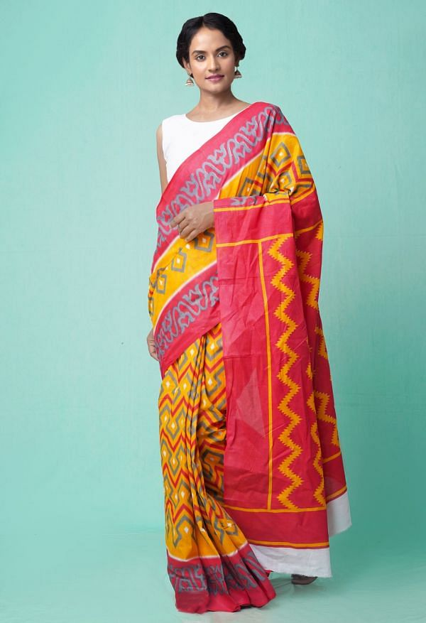 Online Shopping for Yellow-Red Pure Ikat Pochampally Cotton Saree with Weaving from Madhya Pradesh at Unnatisilks.comIndia