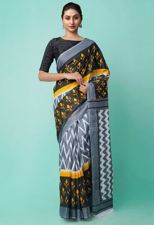 Online Shopping for Grey Pure Ikat Pochampally Cotton Saree with Weaving from Madhya Pradesh at Unnatisilks.comIndia