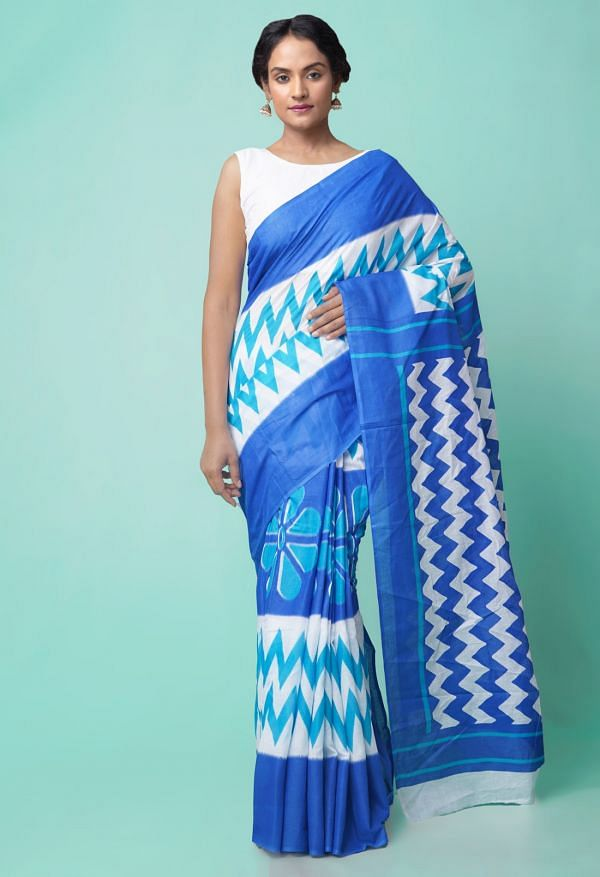 Online Shopping for White-Blue Ikat Pochampally Cotton Saree with Ikat from Andhra Pradesh at Unnatisilks.comIndia