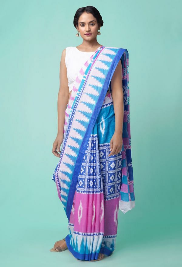 Online Shopping for Multi Ikat Pochampally Cotton Saree with Ikat from Andhra Pradesh at Unnatisilks.comIndia