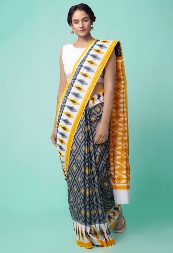 Online Shopping for Grey Ikat Pochampally Cotton Saree with Ikat from Andhra Pradesh at Unnatisilks.comIndia