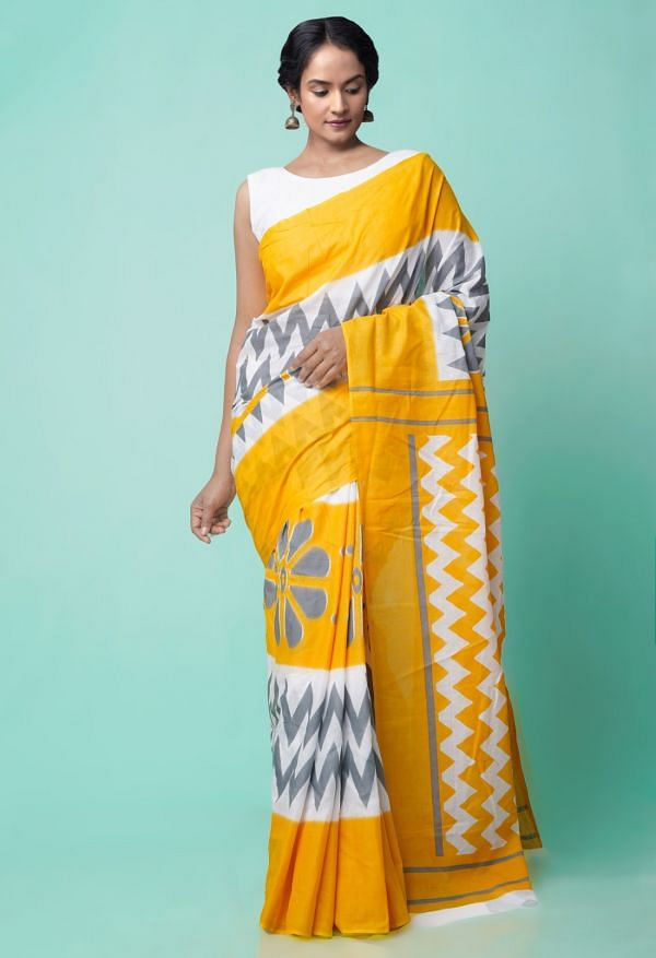Online Shopping for White-Yellow Ikat Pochampally Cotton Saree with Ikat from Andhra Pradesh at Unnatisilks.comIndia