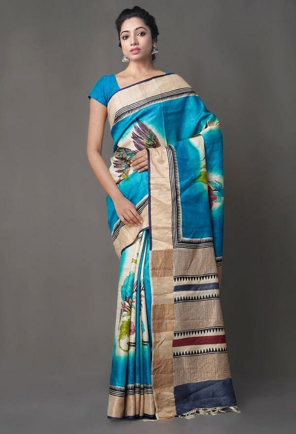 Online Shopping for Blue Pure Handloom Sundarban Tussar Silk Saree with Hand Block Prints from Chhattisgarh at Unnatisilks.comIndia