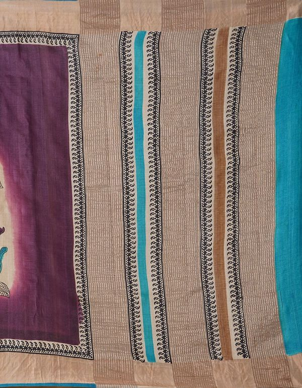 Online Shopping for Purple Pure Handloom Sundarban Tussar Silk Saree with Hand Block Prints from Chhattisgarh at Unnatisilks.comIndia