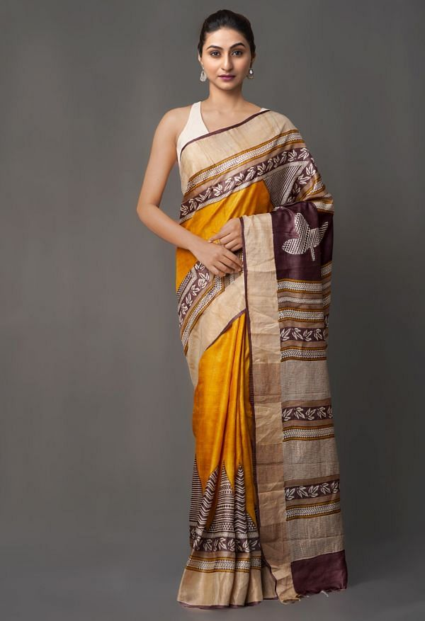 Online Shopping for Yellow Pure Handloom Sundarban Tussar Silk Saree with Hand Block Prints from Chhattisgarh at Unnatisilks.comIndia