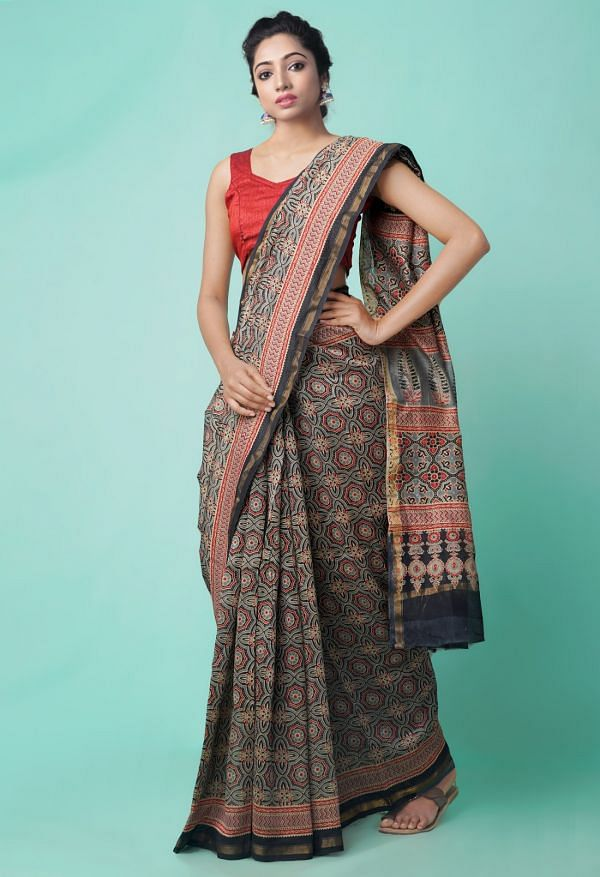 Online Shopping for Grey Pure Ajrakh Chanderi Sico Saree with Ajrakh from Madhya Pradesh at Unnatisilks.comIndia