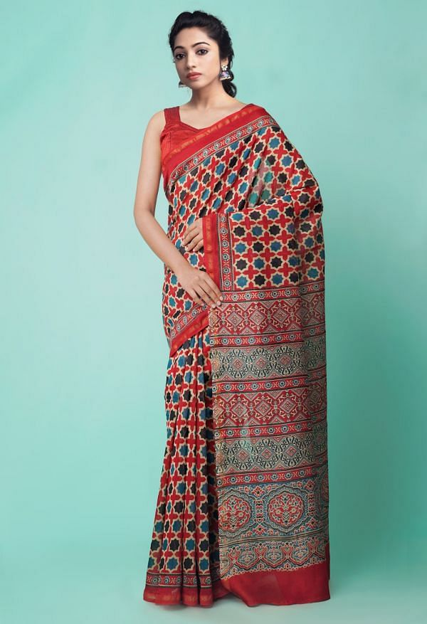 Online Shopping for Red Pure Ajrakh Chanderi Sico Saree with Ajrakh from Madhya Pradesh at Unnatisilks.comIndia