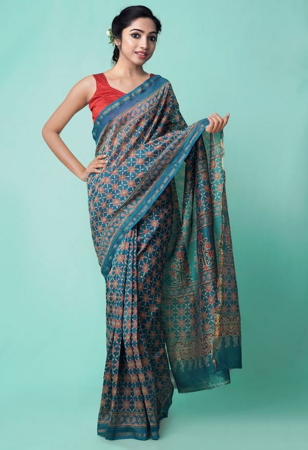 Online Shopping for Blue Pure Ajrakh Chanderi Sico Saree with Ajrakh from Madhya Pradesh at Unnatisilks.comIndia
