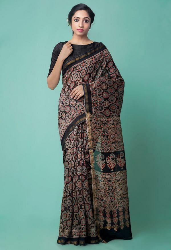 Online Shopping for Black Pure Ajrakh Chanderi Sico Saree with Ajrakh from Madhya Pradesh at Unnatisilks.comIndia
