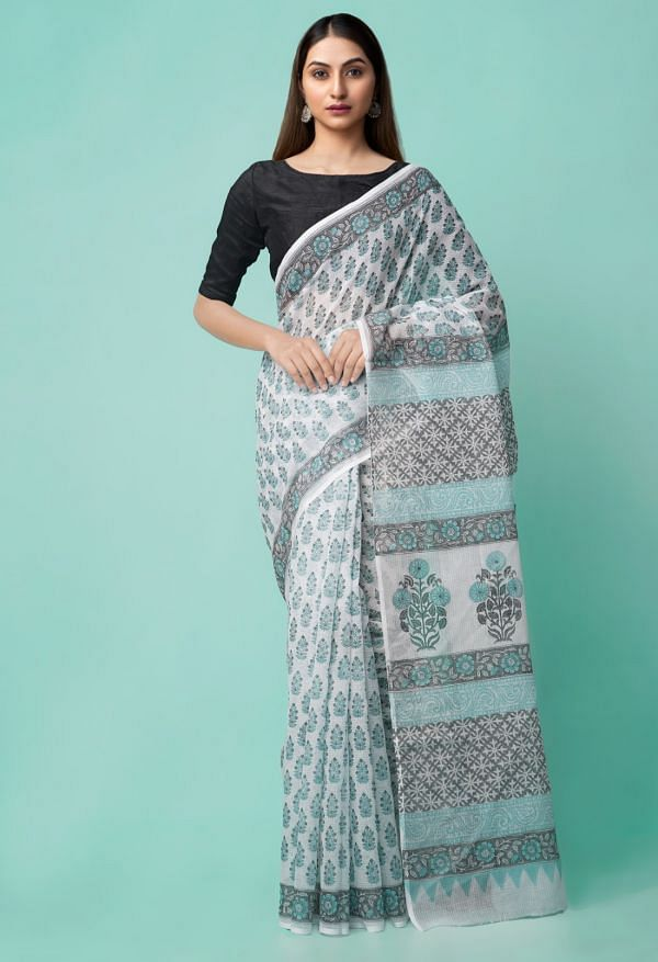 Online Shopping for Ivory Pure Hand Block Printed Kota Cotton Saree with Hand Block prints from Rajasthan at Unnatisilks.comIndia