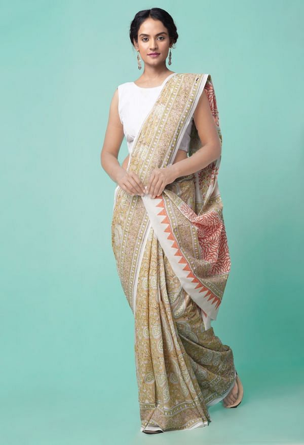 Online Shopping for Brown Pure Hand Block Printed Mulmul Cotton Saree with Hand Block prints from Rajasthan at Unnatisilks.comIndia