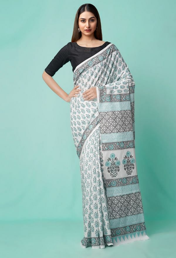 Online Shopping for Ivory Pure Hand Block Printed Mulmul Cotton Saree with Hand Block prints from Rajasthan at Unnatisilks.comIndia