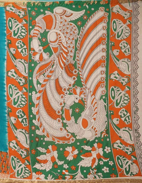 Online Shopping for Blue Pure Kalamkari Cotton Saree with Kalamkari from Rajasthan at Unnatisilks.comIndia