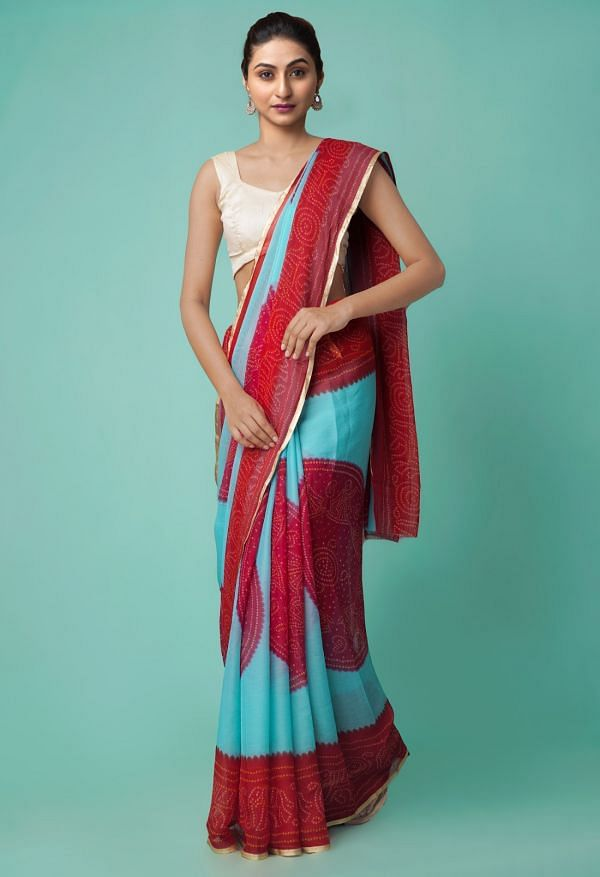 Online Shopping for Turquoise Blue-Red  Chiffon  Saree with Bandhani with Bandhani from Punjab at Unnatisilks.comIndia
