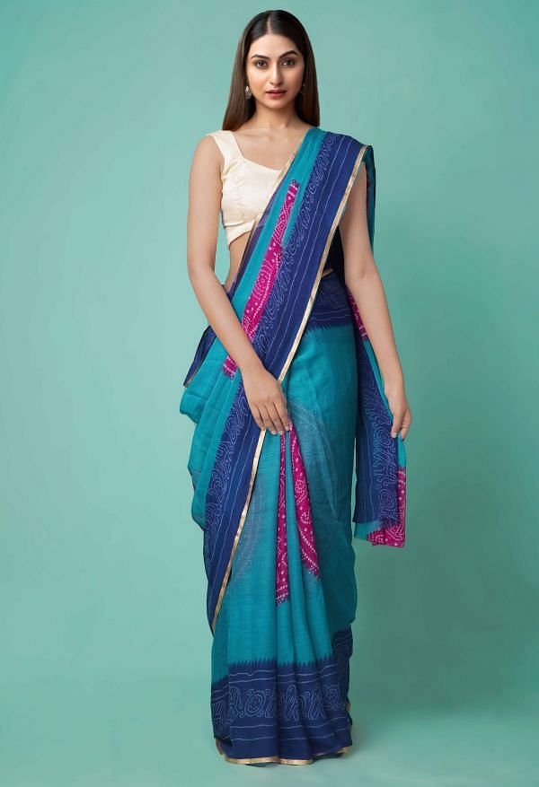 Online Shopping for Green-Blue  Chiffon  Saree with Bandhani with Fancy/Ethnic Prints from Punjab at Unnatisilks.comIndia