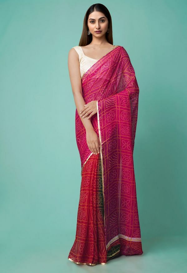 Online Shopping for Multi  Chiffon  Saree with Bandhani with Fancy/Ethnic Prints from Punjab at Unnatisilks.comIndia