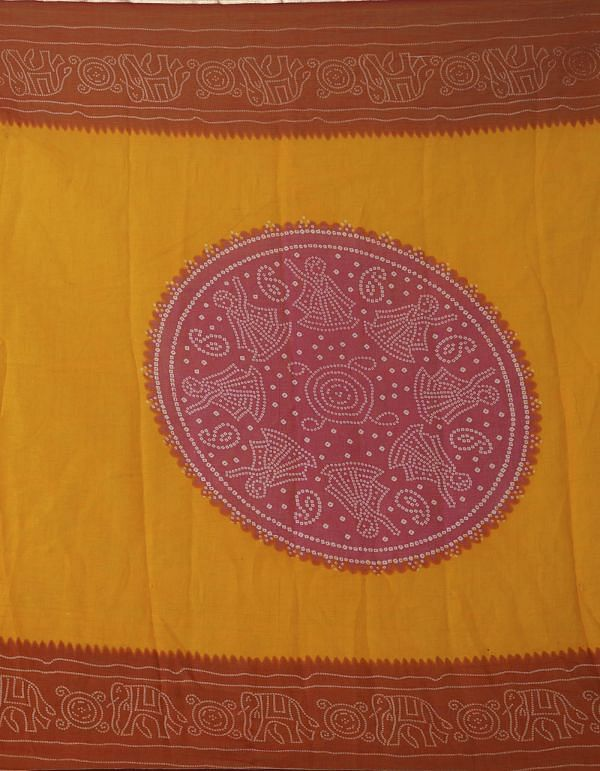 Online Shopping for Orange-Red  Chiffon  Saree with Bandhani with Fancy/Ethnic Prints from Punjab at Unnatisilks.comIndia