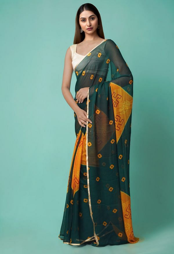 Online Shopping for Green-Orange  Chiffon  Saree with Bandhani with Fancy/Ethnic Prints from Punjab at Unnatisilks.comIndia