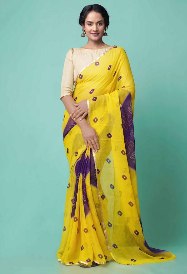 Online Shopping for Yellow  Chiffon  Saree with Bandhani with Fancy/Ethnic Prints from Punjab at Unnatisilks.comIndia
