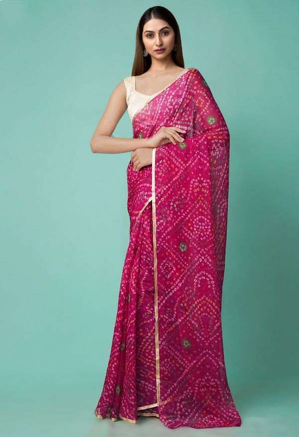 Online Shopping for Pink  Chiffon  Saree with Bandhani with Fancy/Ethnic Prints from Punjab at Unnatisilks.comIndia