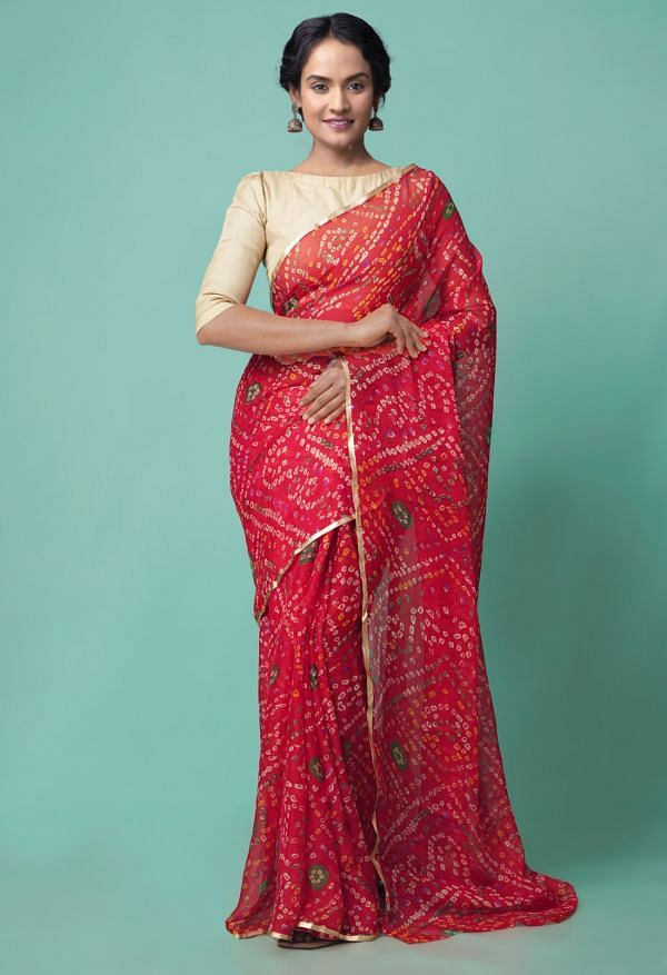 Online Shopping for Red  Chiffon  Saree with Bandhani with Fancy/Ethnic Prints from Punjab at Unnatisilks.comIndia