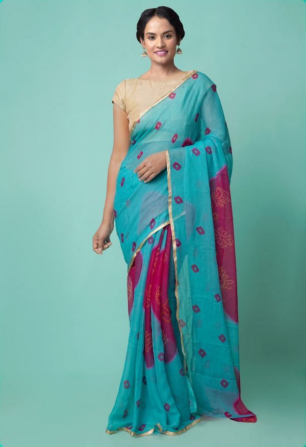 Online Shopping for Turquoise Blue  Chiffon  Saree with Bandhani with Fancy/Ethnic Prints from Punjab at Unnatisilks.comIndia
